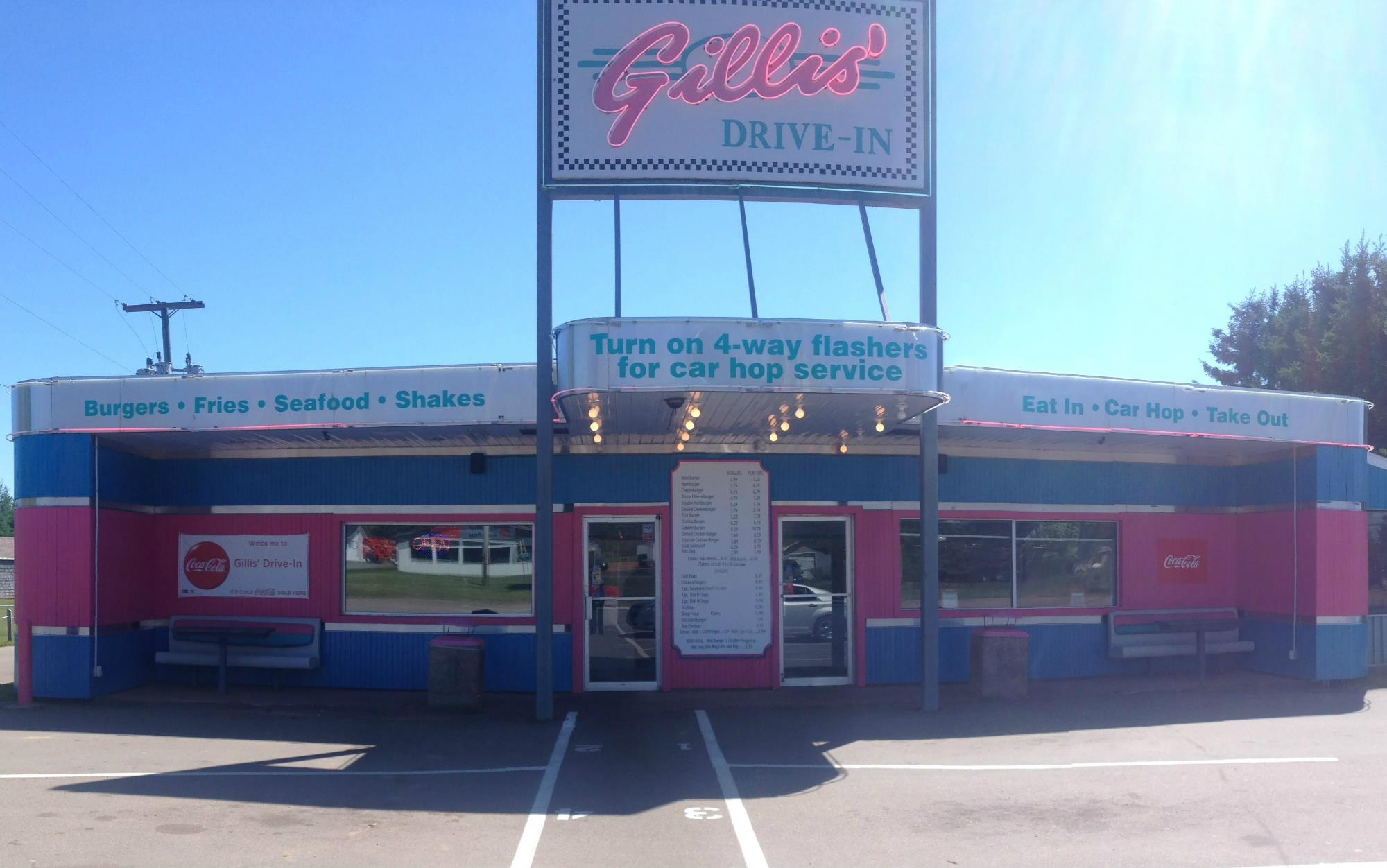 Gillis' Drive In Restaurant is a 60's style drive in, and one of the last car hops in Canada, offering curb service, dine-in or take-out